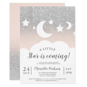 Silver Glitter Star Moon Cloud Baby Shower Invitation