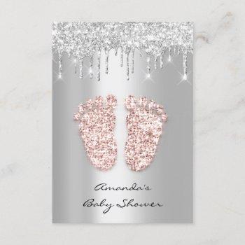 Silver Gray Baby Girl Boy Shower Feet Foot Drips Invitation