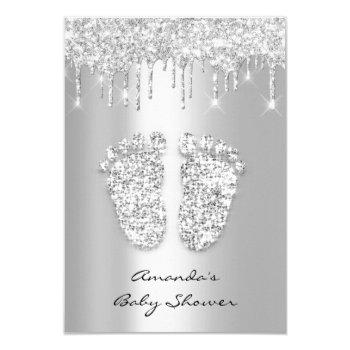 Silver Gray Baby Girl Boy Shower  Feet Invitation