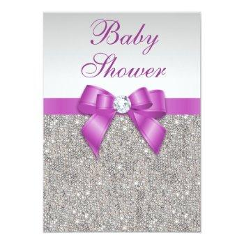 Silver Jewels Radiant Orchid Bow Baby Shower Invitation
