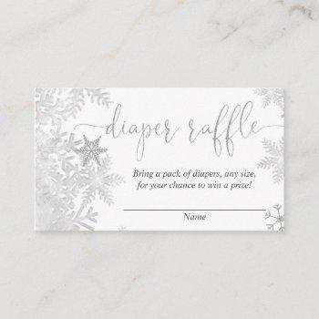 Silver Snowflake Gender Neutral Baby Diaper Raffle Enclosure Card