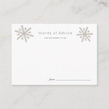 Silver Snowflakes Baby Shower Advice Cards