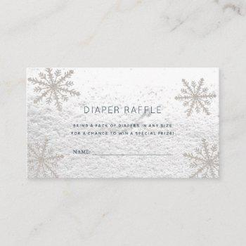 Silver Snowflakes Baby Shower Diaper Raffle Ticket Enclosure Card