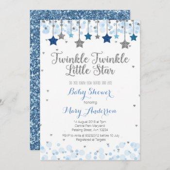 Silver Twinkle Twinkle Little Star Baby Shower Invitation