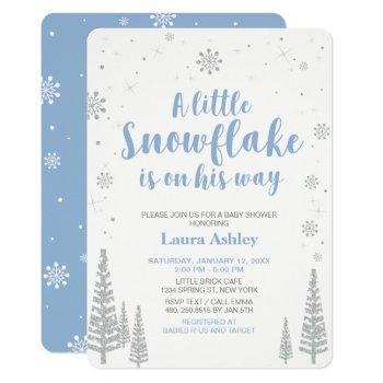 Silver Winter Wonderland, Boy Baby Shower,4.5x6.25 Invitation