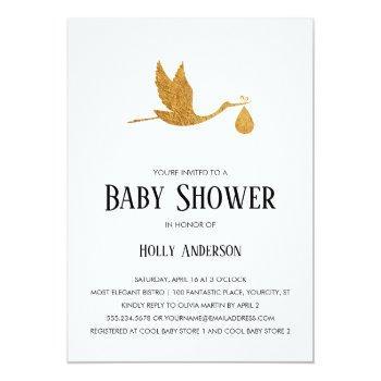 Simple Baby Shower Faux Gold Foil Stork W/ Bundle Invitation