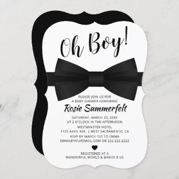 Simple Bow Tie Black & White | Baby Shower Invitation