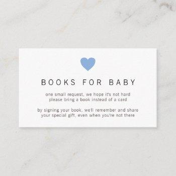 Simple Cute Blue Heart Boy Books For Baby Shower Enclosure Card