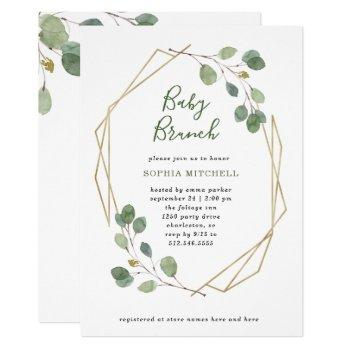 Simple Eucalyptus Greenery Geometric Baby Brunch Invitation