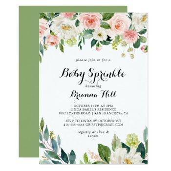 Simple Floral Green Calligraphy Baby Sprinkle Invitation