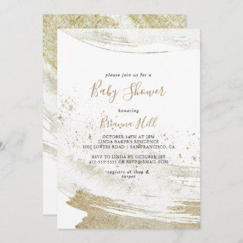 Simple Gold Minimalist Baby Shower Invitation