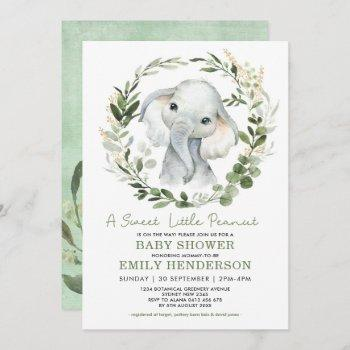 Simple Greenery Gold Elephant Baby Shower Sprinkle Invitation