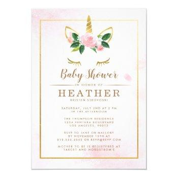 Simple Pink And Gold Unicorn Baby Shower Invitation