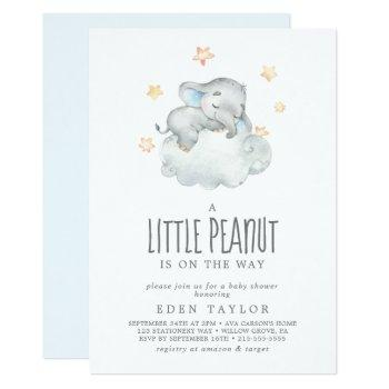 Sleeping Elephant Boy Little Peanut Baby Shower Invitation