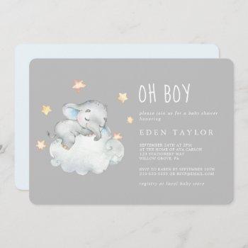 Sleeping Little Elephant Oh Boy | Gray Baby Shower Invitation