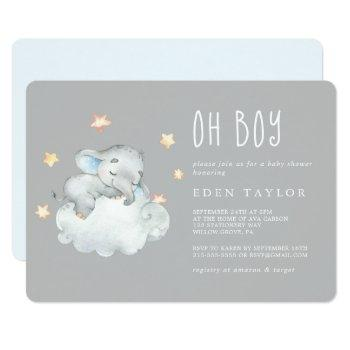 Sleeping Little Elephant Oh Boy | Gray Baby Shower Invitation