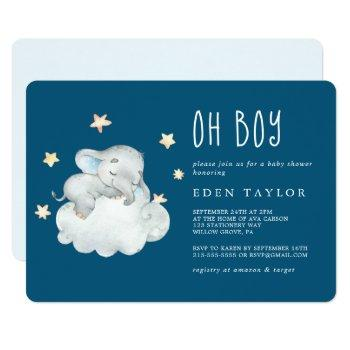 Sleeping Little Elephant Oh Boy | Navy Baby Shower Invitation