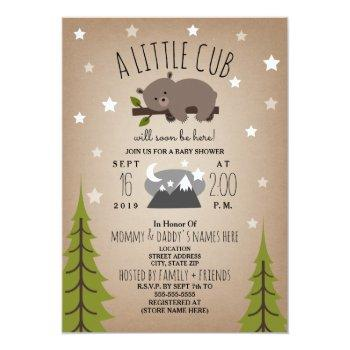 Sleepy Bear Cub  Mountains Baby Shower Invitation