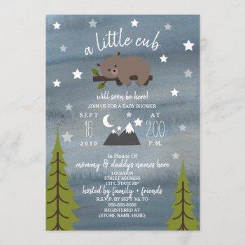 Sleepy Bear Cub  Mountains Watercolor Baby Shower Invitation