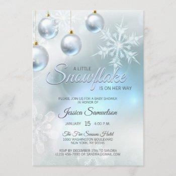 Snowflake Winter Blue Wonderland Baby Shower