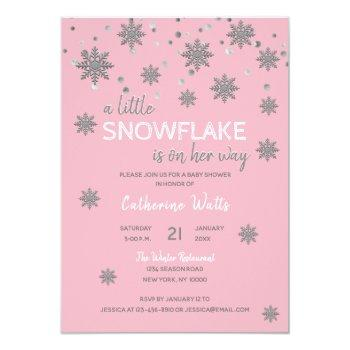 Snowflakes Pink Silver Grey Baby Shower | Girl Invitation