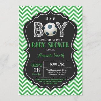 Soccer Baby Shower  Green Chevron