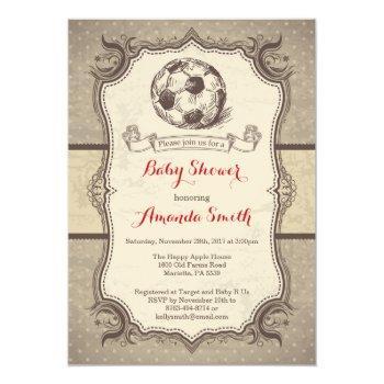 Soccer Baby Shower Invitation Vintage Retro