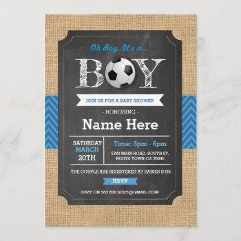 Soccer Blue Boy Baby Shower Football Invite