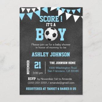 Soccer It's A Boy Baby Shower Chalkboard Blue Boy