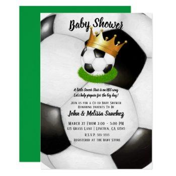 Soccer Star Royal Gold Crown Co-ed Baby Shower Invitation