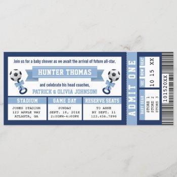 Soccer Ticket Baby Shower , Blue