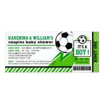 Soccer Ticket Pass Couples Baby Shower Invitation
