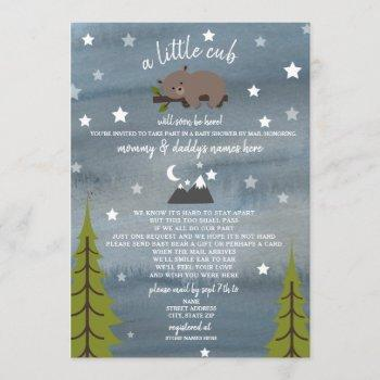 Social Distancing Baby Shower By Mail Bear Invitation