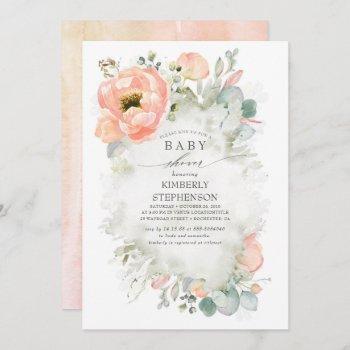 Soft Peach Flowers Elegant Spring Baby Shower