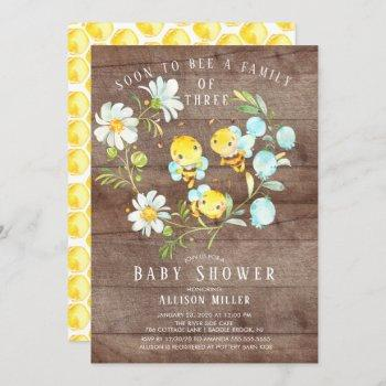 Soon To Bee Family Of 3 Baby Shower Invitation
