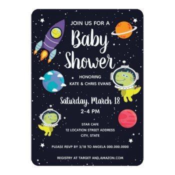 Space Dinosaur Galaxy Baby Shower Invitation