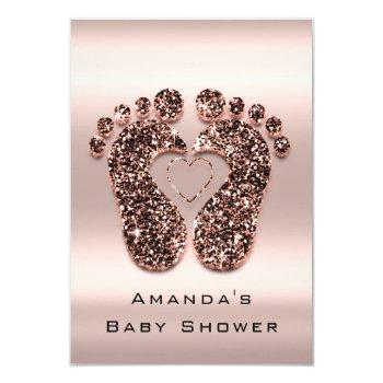 Spark Glitter Baby Shower Feet Rose Skin Blush Vip Invitation