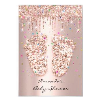 Spark Glitter Drips Rose Confettibaby Shower Feet Invitation