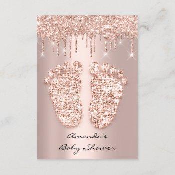 Spark Glitter Drips Rose Gold Baby Shower Feet