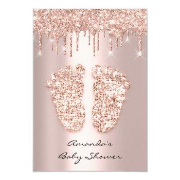Spark Glitter Drips Rose Vip Baby Shower Feet Invitation