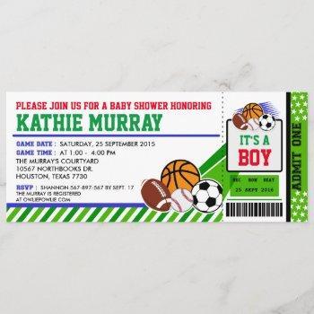 Sport Ticket Pass Baby Shower