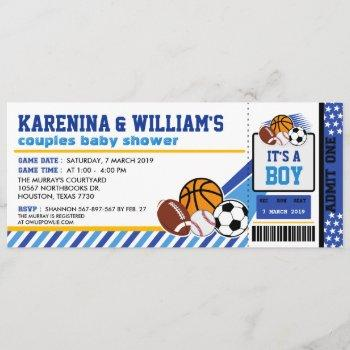 Sport Ticket Pass Couples Baby Shower