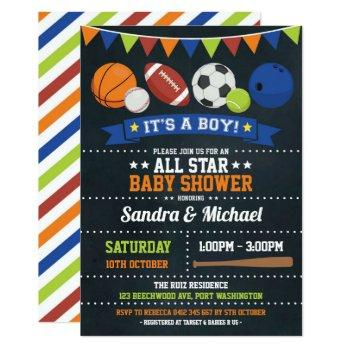 Sports All Star Baby Shower Basketball Rugby Invitation