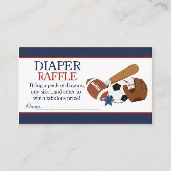 Sports All Stars Boy Baby Shower Diaper Raffle Enclosure Card