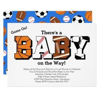 Sports Baby Shower Co-ed Theme Boy Blue Invitation