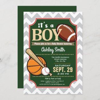 Sports Baby Shower Invitation Boy
