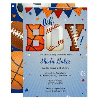 Sports Baby Shower Invitation - Sports All Star