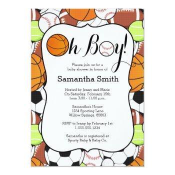 Sports Oh Boy! Baby Shower Invitation