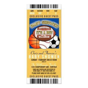 Sports Theme (blue/yellow) Party Baby Shower Invitation