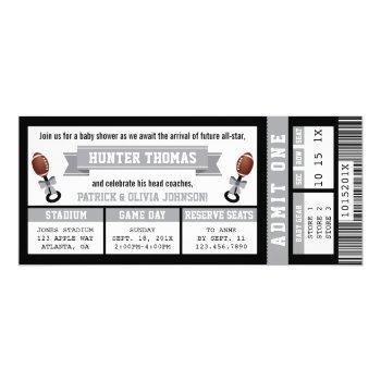 Sports Ticket Baby Shower Invitation, Black, Gray Invitation